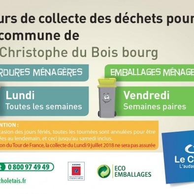 Ordures ménagères & emballages Planning 2018