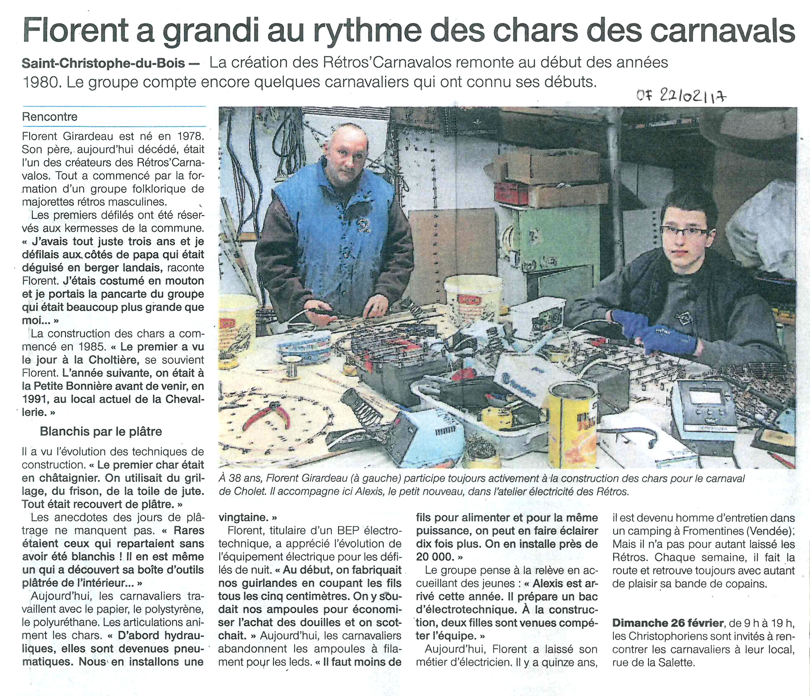 Article du Ouest France du 21/02/2017