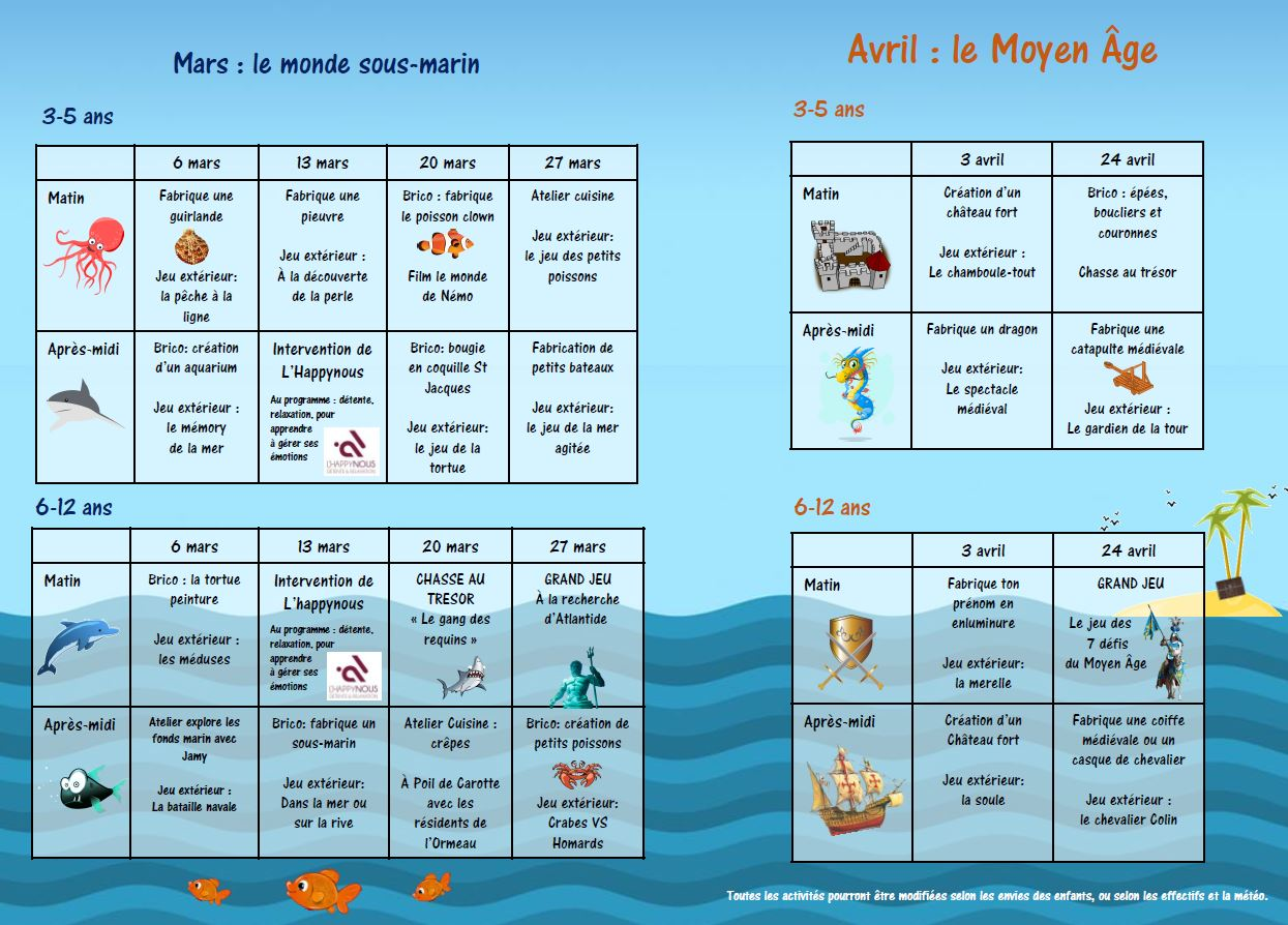 programme mercredis mars avril 02