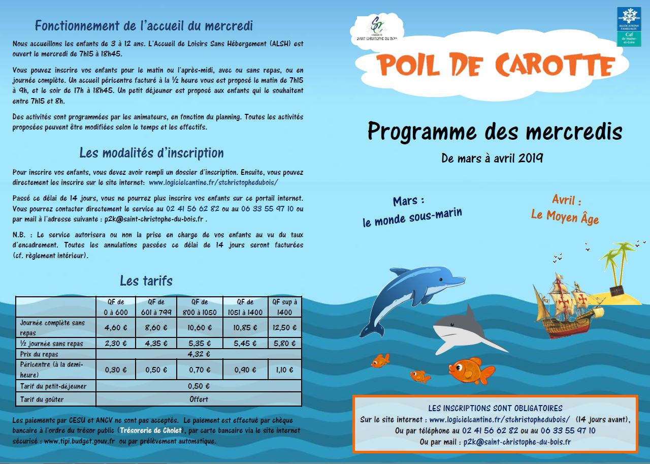programme mercredis mars avril