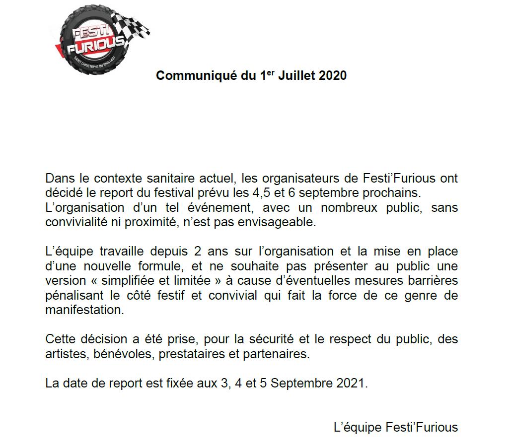 festi furious reporté