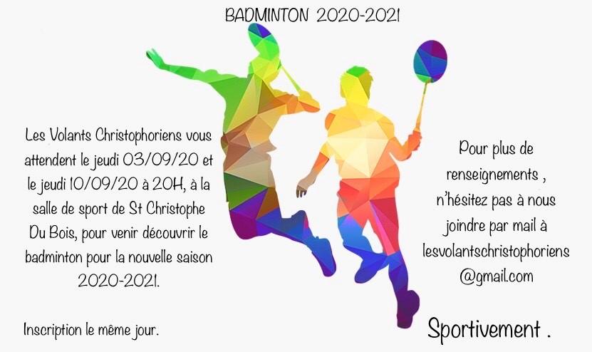 BADMINTON 2020-2021 - publié le 28-08-2020